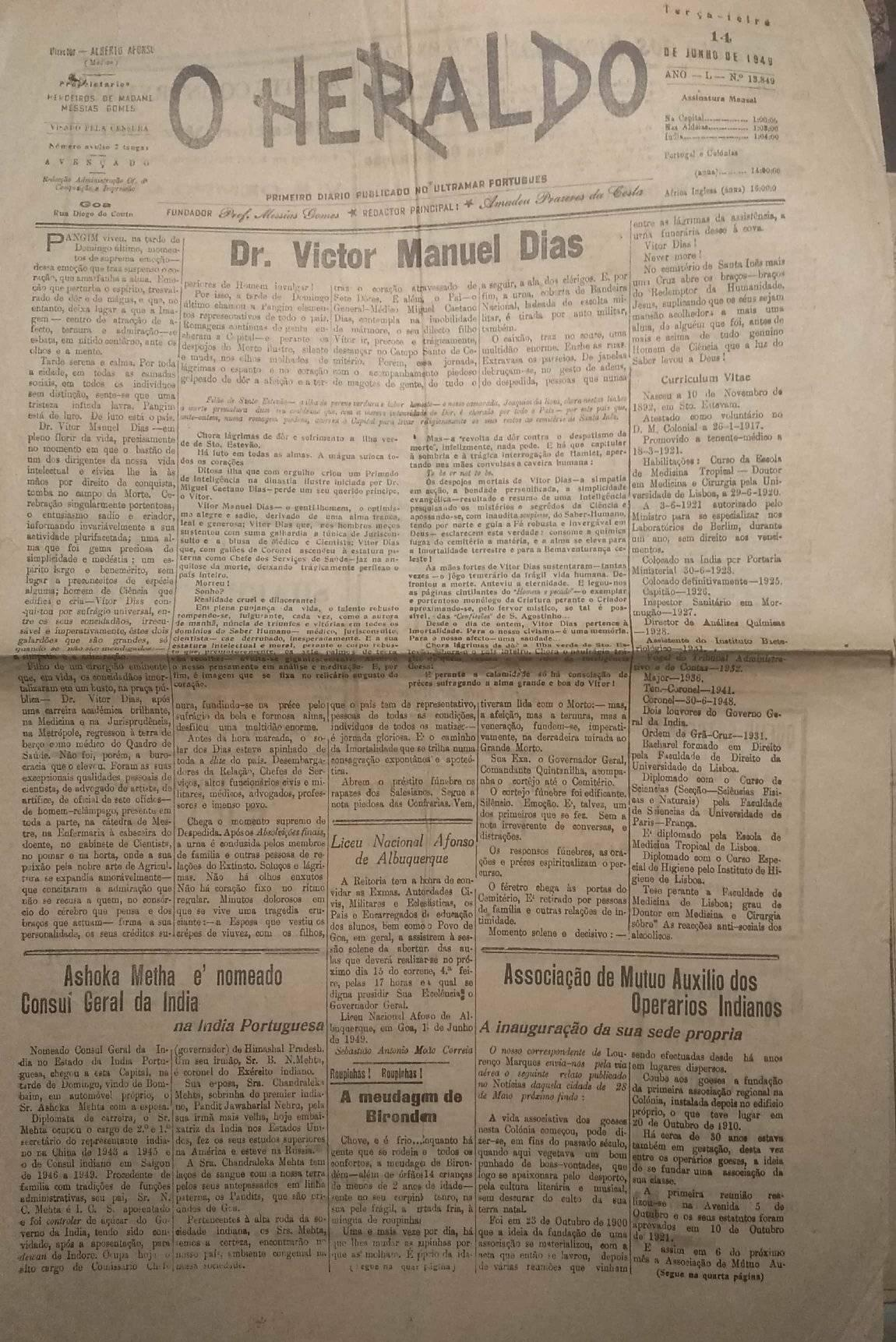 VictorManuelDias-OHeraldo-14June1949